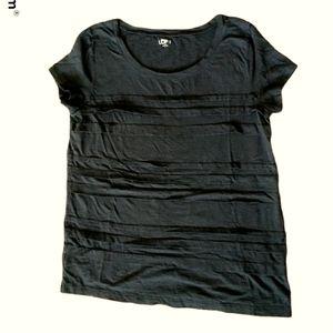 Ann Taylor LOFT layer strips black T-shirt L